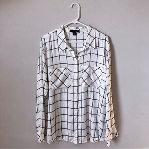 SANCTUARY window pane button-down shirt (b&w)